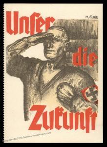 3rd Reich Germany 1927 SA Unser die Zukunft Mjoelnir Propaganda Card UNUSE 91578