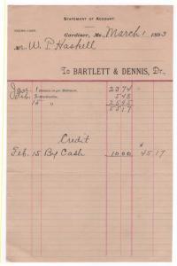 1893 Billhead, BARTLETT & DENNIS, Dr., Gardiner, Maine