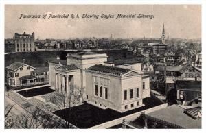 Rhode Island  Aerial view  Pawtucket showing Sayles Memorial Library