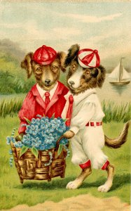 Two Dressed Dogs with Basket of Flowers