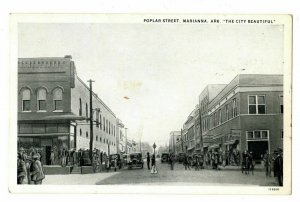 Marianna Arkansas Postcard Street View Poplar Street Autos People #75550