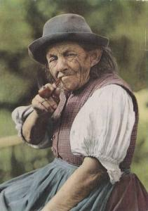 German  old woman smoking a pipe, Berlin, Germany,  PU-1977