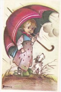 AS: Bonnie, Little Girl Holding a Big Umbrella on a Rainy Day, Dog Beside Her...