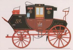 1815 Royal Mail Coach Horse & Cart Victorian John Vidler London Museum Postcard