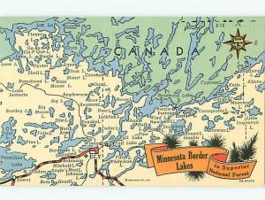 Minnesota Border Lakes Superior National Forest Map Canada  Postcard  # 6908