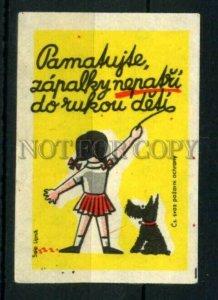 500817 Czechoslovakia scotch terrier dog Vintage match label