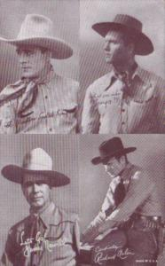 Vintage Cowboy Arcade Card George Montgomery James Newill & Richard Arlen