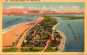 Florida Pass-A-Grille Beach Aerial View 1949 Curteich