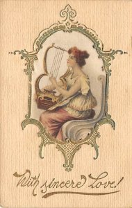 With Sincere Love Woman Playing Harp Silk Embroidered Writing on Back