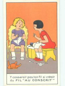 foreign Old Postcard FRENCH GIRLS DO THEIR SEWING AC3195