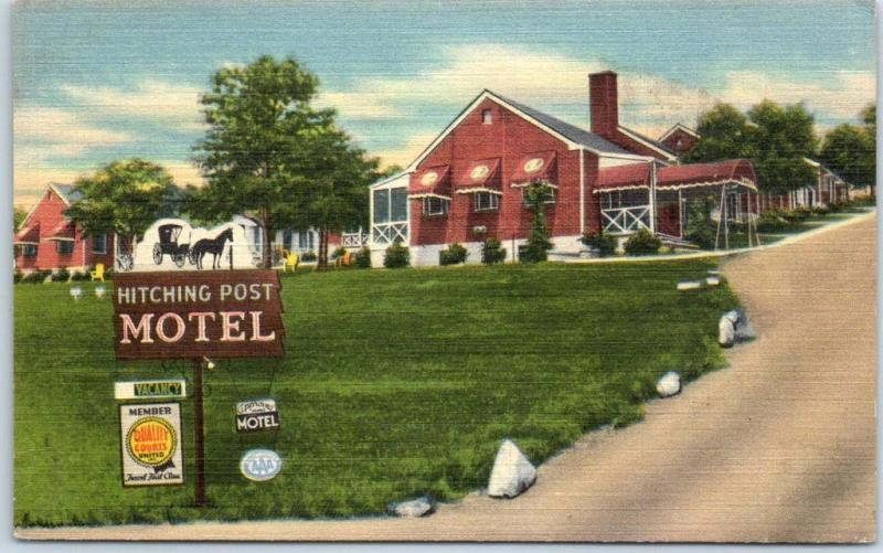 Roanoke, Virginia Postcard HITCHING POST MOTEL Route 11 Roadside Linen Unused
