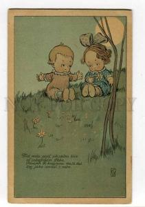 264768 Charming Kids MOON by KW Vintage ART DECO postcard