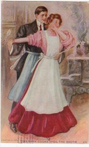 Romantic Couple Wearing Aprons Too Many Cooks Spil The Broth 1909