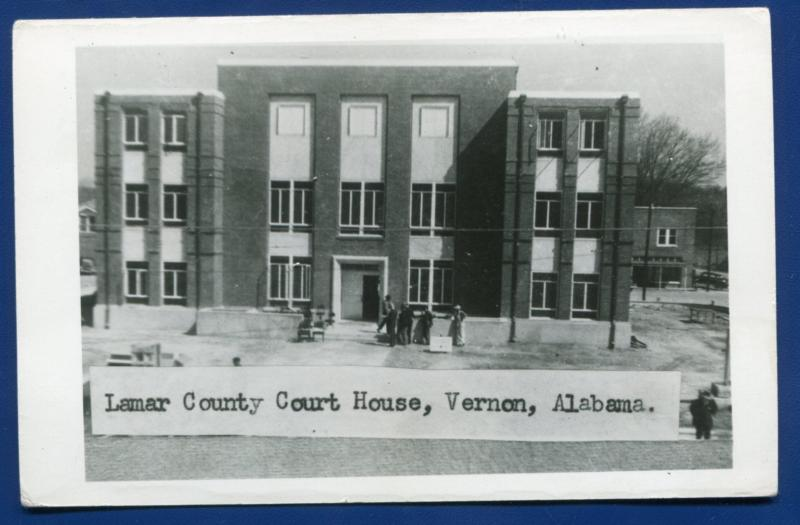 Vernon Alabama al Lamar County Court House real photo postcard RPPC