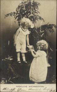 German Christmas - Kids & Tree c1905 Real Photo Postcard