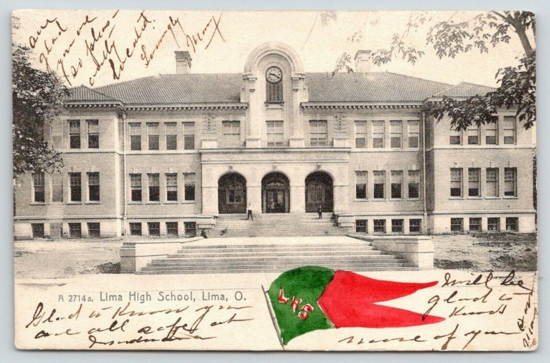 Lima Ohio~Lima High School~LHS Red Green Handcolored Pennant~1907 Rotograph PC