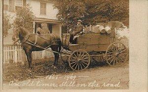 Canton Center CT House to House Salesman Horse & Wagon 1909 Real Photo Postcard