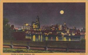 Maryland Baltimore Skyline At Night 1954