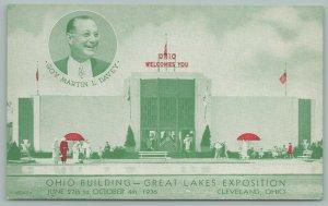 Cleveland Ohio~Great Lakes Exposition~Ohio Bldg~Martin Davey~Postcard~c1936