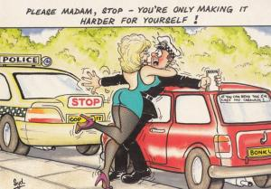 Lady Forcing Policeman To Make Love By Policeman Car Comic Humour Postcard