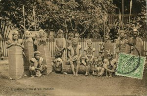 indonesia, BORNEO, Dajak Dayak Chief with Wife and Armed Warriors, Spear Shield