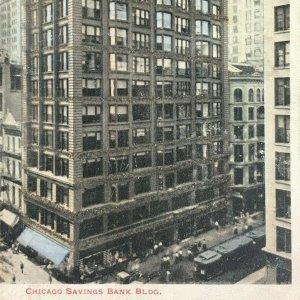 Illinois Chicago Savings Bank Building Madison Avenue Glitter Vintage Postcard