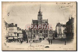 Old Postcard Compiegne Place of City Hotel