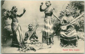 Vintage 1910s SRI LANKA Postcard Nautch Girls, Ceylon Musicians Dancers Unused