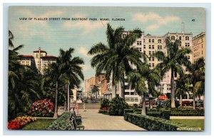 Flagler Street from Bayfront Park Miami Florida Postcard Linen