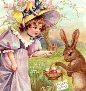 1894 Easter Lion Coffee Woolson Spice Co. Girl In Purple & Brown Rabbit Fab! *D