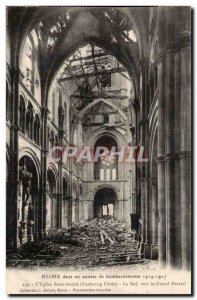 Reims in its bombardment of year 1914 1917 Old Postcard Church of Saint Andre