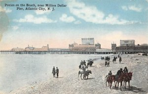 Ponies on the Beach, near Million Dollar Pier, Atlantic City, NJ c1910s Postcard