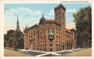 Bay City Michigan Masonic Temple Antique Postcard J54273