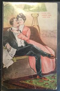 "Vintage Postcard Used Couple ""When you marry him love him""  LB"