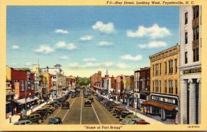 North Carolina Fayetteville Hay Street Looking West Curteich