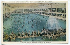 Bath House Interior Redondo Beach California 1921c postcard