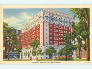 Unused Linen BANCROFT HOTEL Worcester Massachusetts MA u8327