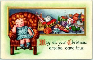 1916 Whitney CHRISTMAS Postcard Girl / Toys May All Your Dreams Come True