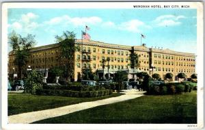 Bay City, Michigan Postcard WENONAH HOTEL  Building View Curteich 1920 Cancel