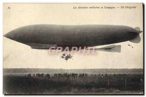 Postcard Old Military Aviation Zeppelin Airship Balloon Campaign