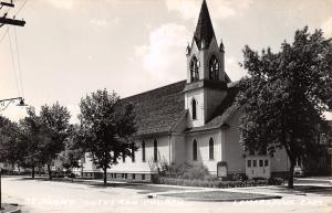 LeMars IA The Former St John's Lutheran~Belltower~Church Sign RPPC 1940s