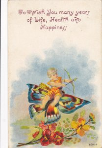 Cupid on a colorful butterfly, flowers, To wish you many years of Life, Healt...