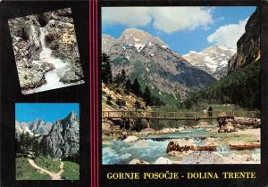 Slovenia Gornje Posocje Dolina Trente, River Bridge Mountains Waterfall