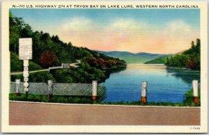 Vintage North Carolina Linen Postcard Highway 74 at Tryon Bay on Lake Lure