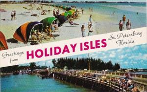 Florida St Petersburg Greetings From Holiday Isles Showing Beach and John's P...