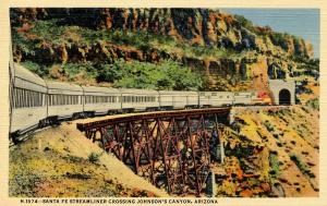 AZ - Johnson's Canyon. Santa Fe Streamliner Train (Fred Harvey)
