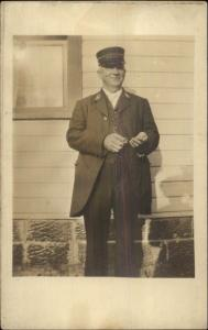 RR Trolley Motorman CONDUCTOR on Hat w/ Tickets c1910 Real Photo Postcard