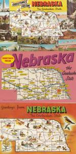 Greetings From Nebraska 3x Map Postcard s