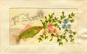 Embroidered Silk  - April First, April Fool's Day   ***VERY RARE***