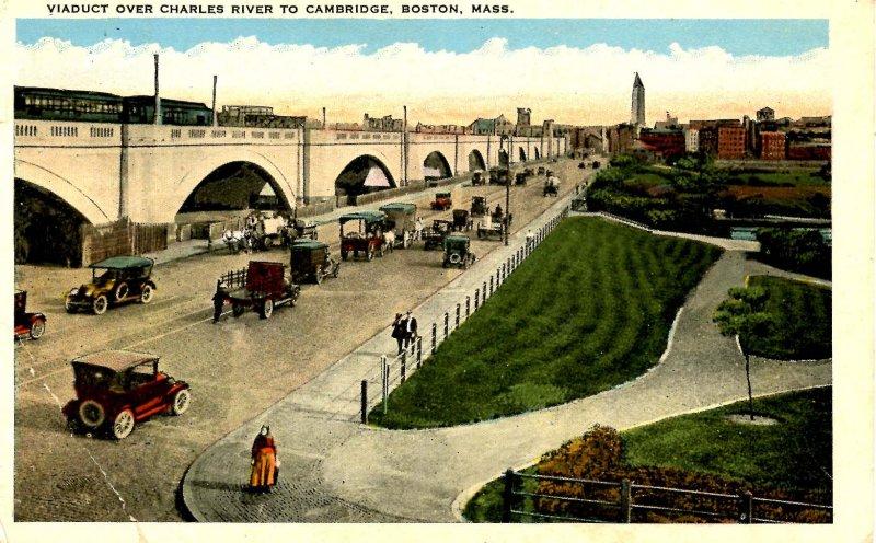 MA - Boston. Viaduct Over Charles River to Cambridge  (crease)